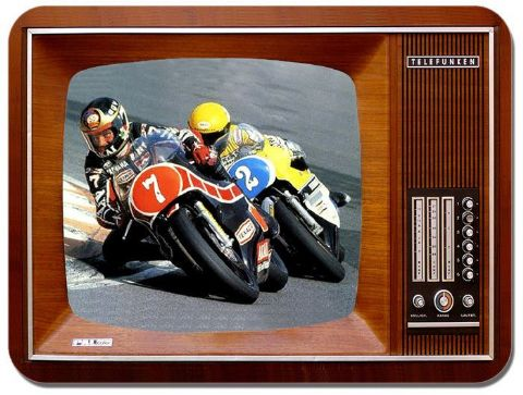 Barry Sheene vs Kenny Roberts Vintage TV Mouse Mat. Motorcycle Race Mouse Pad